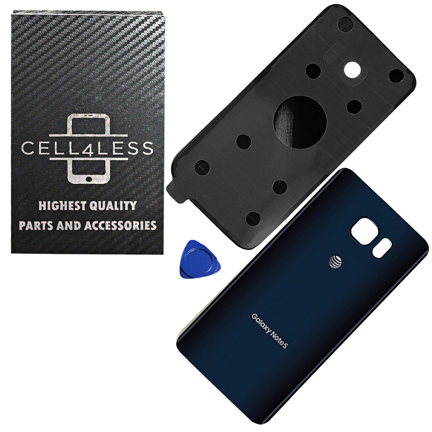 new style 2357e a5ad5 CELL4LESS Samsung Galaxy Note 5 Replacement Rear Back Glass Back Cover  w/Removal Tool & Pre-Installed Adhesive - Fits N920 Models at&T Carrier  Logo - ...