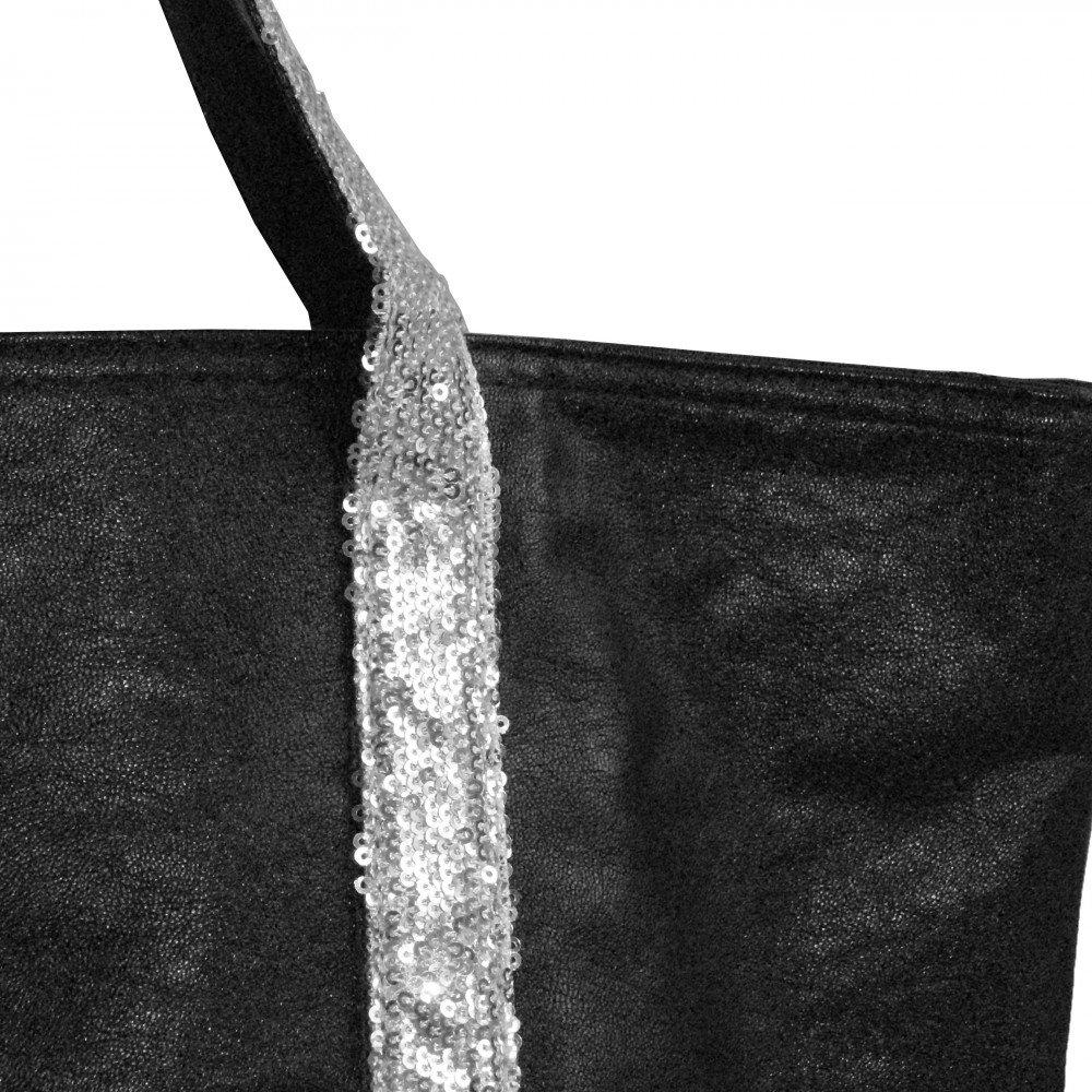 Simili-cuir Shopping-et-Mode Noir Sac /à main noir style cabas en simili-cuir avec lani/ères /à paillettes