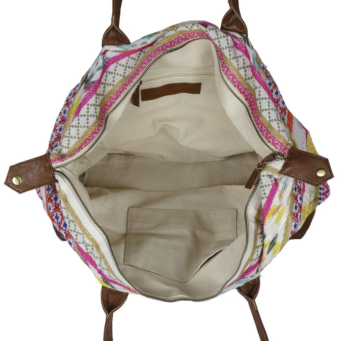 Raj Pink Multi Ethnic Print Duffle Bag Weekender with Leather by Raj Imports (Image #5)