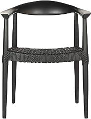 Safavieh Home Bandelier 17-inch Boho Modern Woven Arm Chair, Black/Black