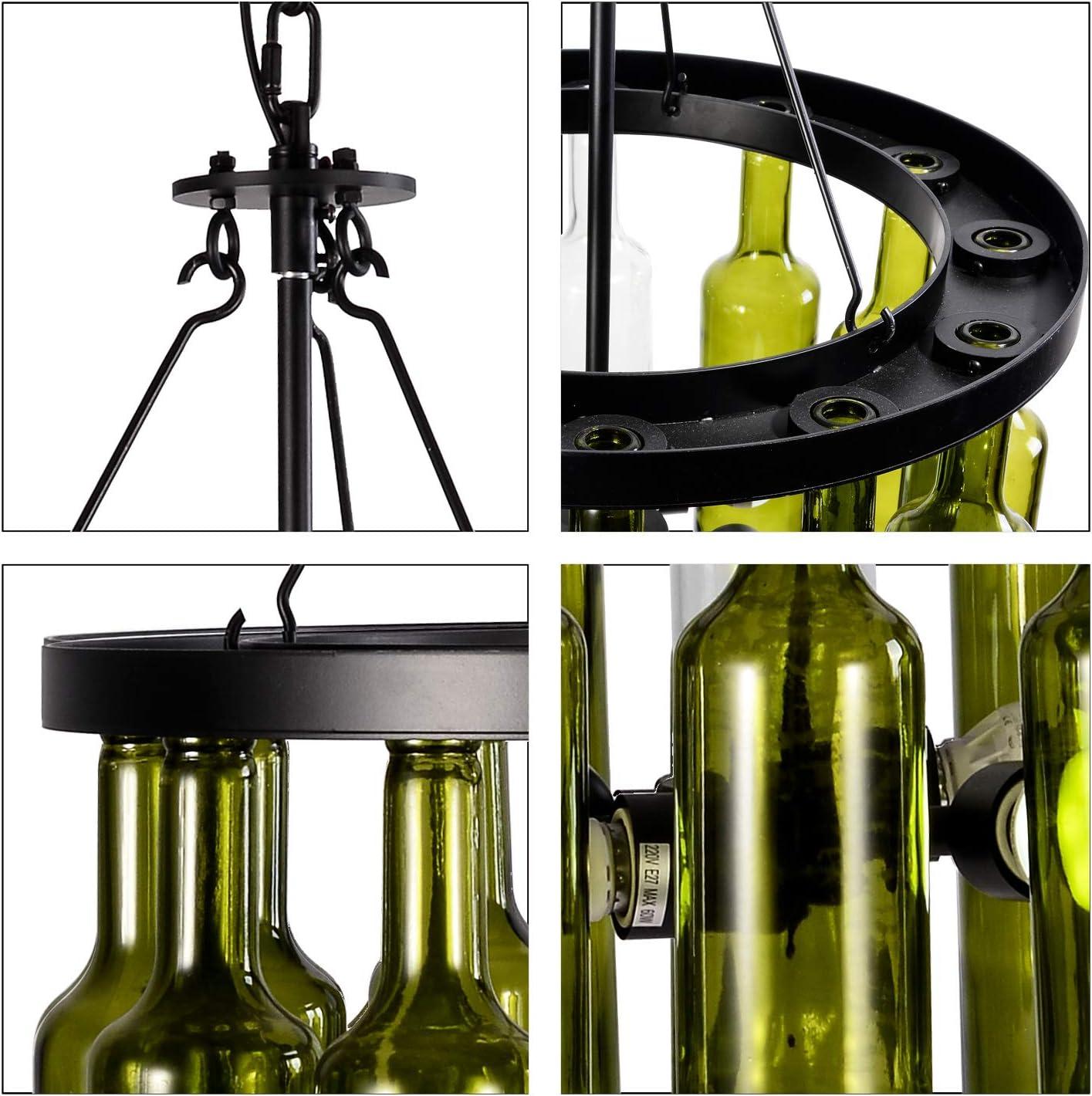 CSDM.AI 4 Luces Retro Colgante De Luz Sombra De Vino Botella Redonda Araña Loft para KTV Bar and Restaurant Club Lights, Verde, AC110-220V,220V: Amazon.es: Hogar