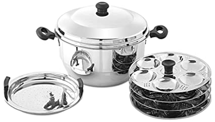 aa7122874d9 Image Unavailable. Image not available for. Colour  Embassy Stainless Steel  Idli Maker Pot with Steamer ...