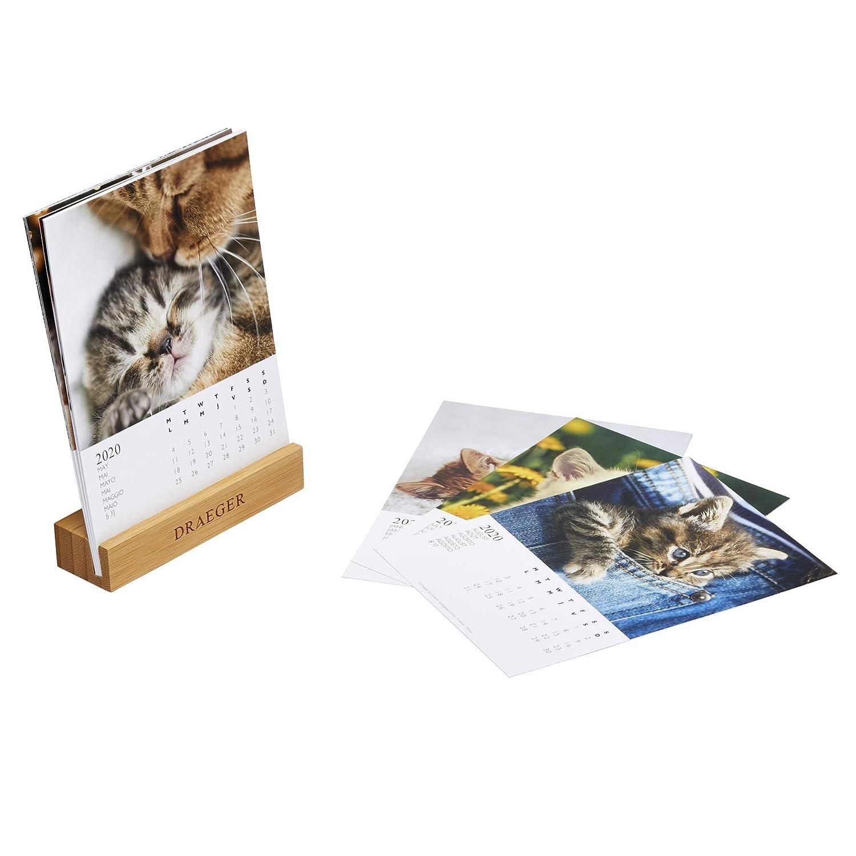 Base di bamb/ù Oggetto decorativo da posizionare Carta rigida certificata FSC mista di alta qualit/à Calendario piccolo 2020 colori su base Draeger 12 illustrazioni colorate e positive