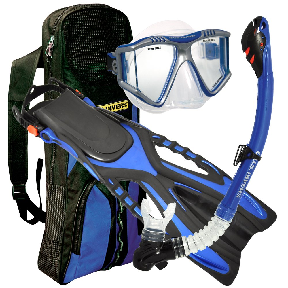 U.S. Divers Lux Grenada LX Snorkel Purge Mask with Ryder Fins and Pro Bag Set
