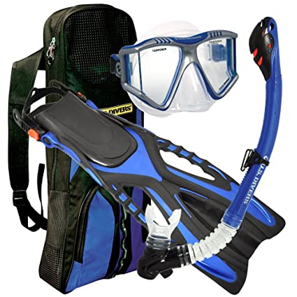 U.S. Divers Lux Grenada LX Snorkel Purge Mask with Ryder Fins and Pro Bag Set (