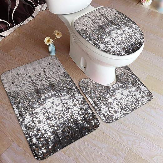 3 Piece Pattern Non-Slip Solid Bathroom Rug Set Bath Mat Contour Toilet Lid Rug