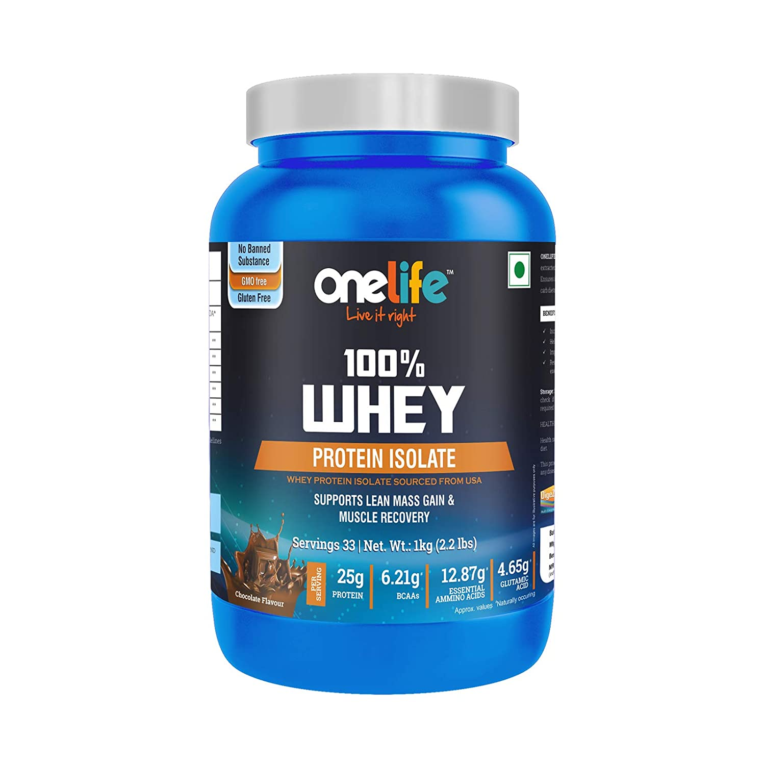 Onelife Whey Protein Isolate with BCAA 6.21gm , Amino Acid 12.87gm ,Glutamine 4.65gm, Supports Lean Mass Gain & Muscle Recovery - 1kg Chocolate Flavor