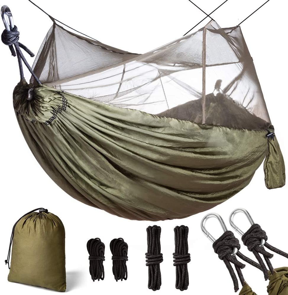 Double Single Camping Hammock with Mosquito Net Portable Lightweight Nylon Parachute Fabric with Hammock Net Rope, Steel Carabiners for Outdoor Park Beach Backpacking Hiking Travel Survival