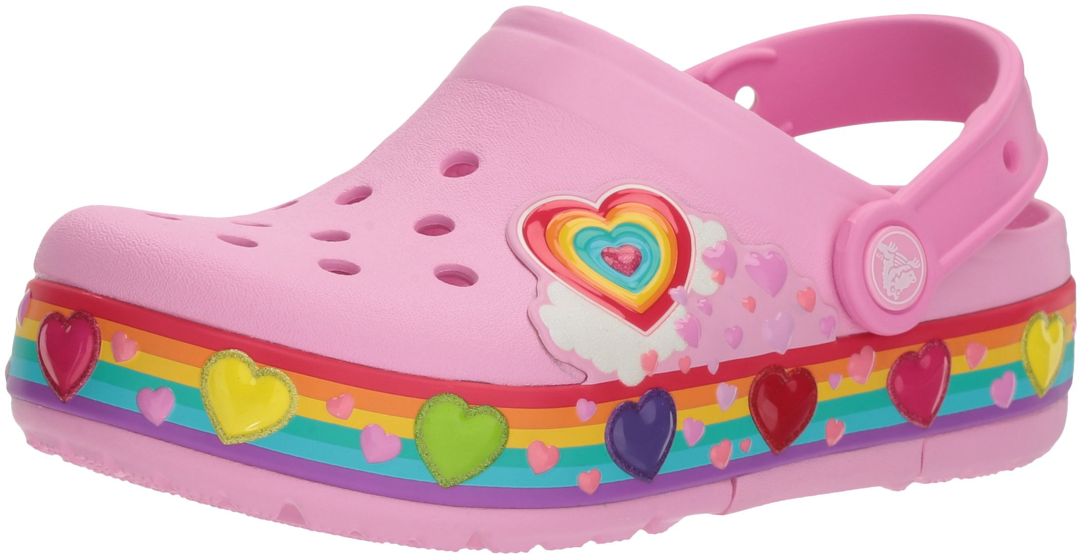 Crocs Unisex-Kids Crocband Fun Lab Lights CLG l Clog, Carnation, 9 M US Toddler