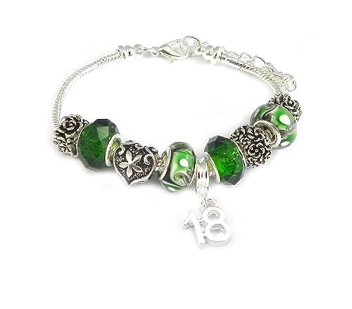 18th cumpleaños verde pulsera de la mujer: Amazon.es: Joyería