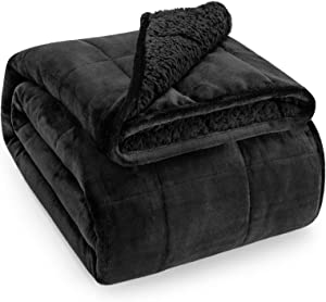 Wemore Sherpa Fleece Weighted Blanket for Adult 20 lbs Dual Sided Cozy Fluffy Heavy Blanket,Ultra Fuzzy Throw Blanket with Soft Plush Flannel Top,60 x 80 inches Black on Both Sides