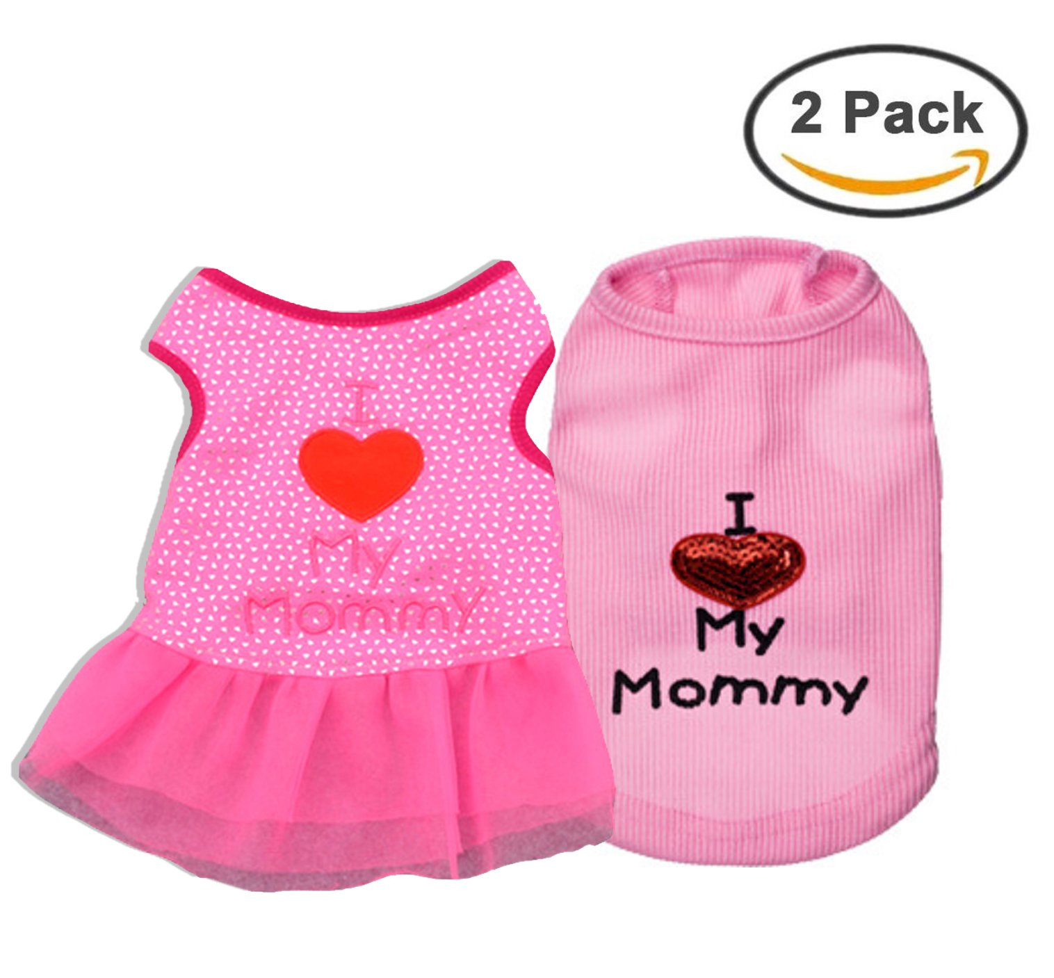Ollypet Set of 2 Dog Clothes For Small Dogs I Love Mommy Shirt Dress Girl Puppy Cat Pink Pet Cute Summer Chihuahua Yorkie Outfit L