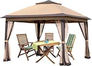 PAMAPIC 11x11 Outdoor Gazebo for Patios Canopy for Shade and Rain with Mosquito Netting, Waterproof Soft Top Metal Frame Gazebo for Lawn, Garden, Backyard and Deck (Brown)