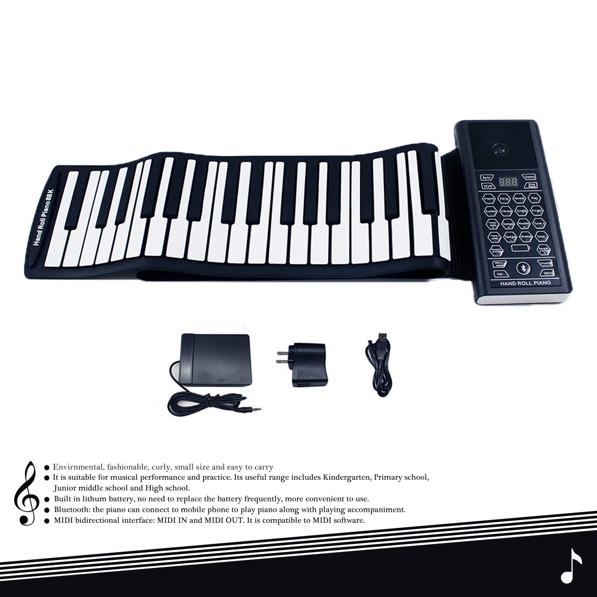 iLearnMusic Roll Up Piano Premium Grade Silicone |THICKENED KEYS | Upgraded Built-in Amplifying Speakers | Portable Piano Keyboard MIDI USB (88 Keys) by Kiker Music (Image #8)