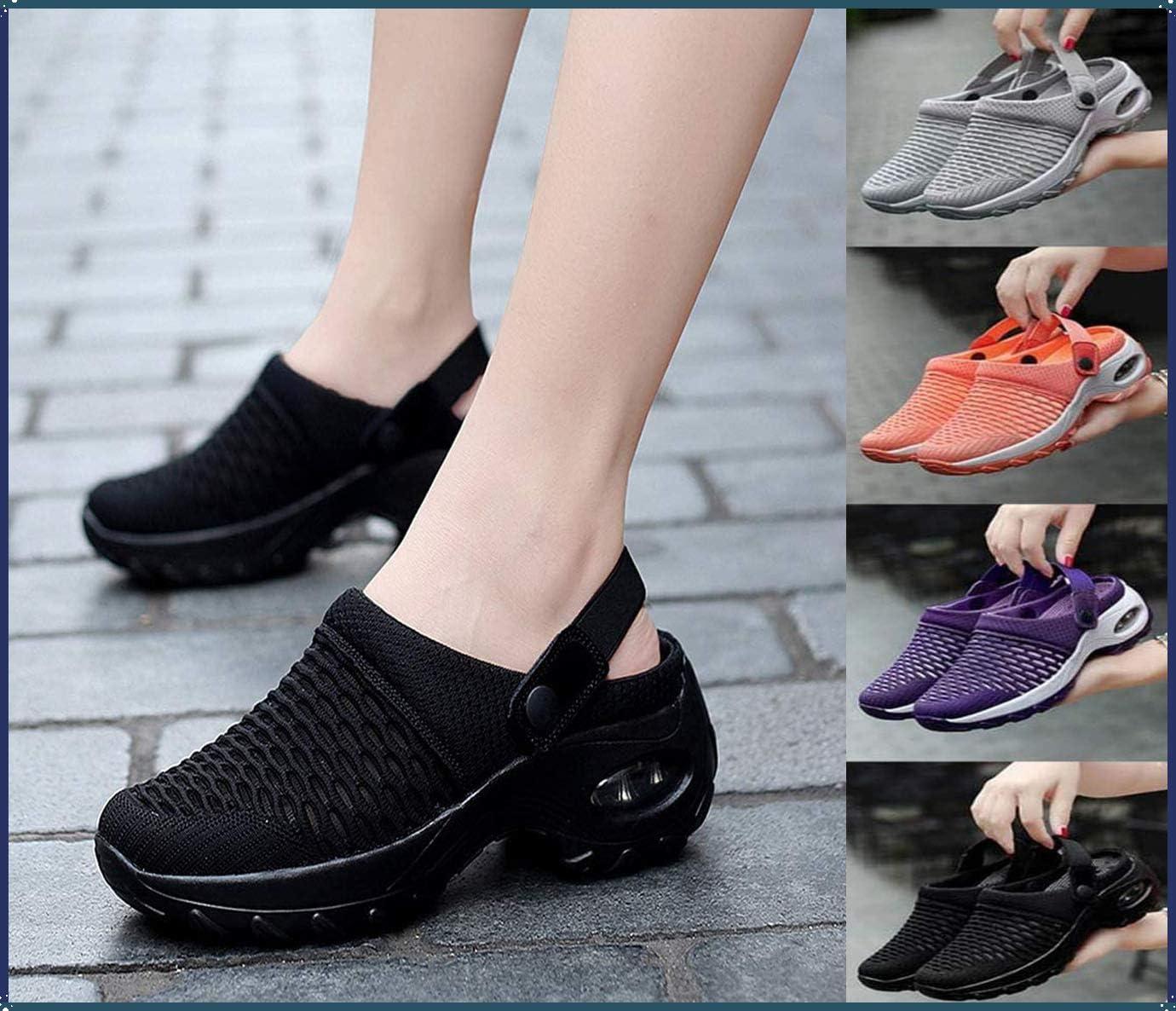QASW Women's Breathable Casual air Cushion Slip-on Shoes, Mesh Slip On Air Cushion Garden Shoes Summer Platform Mesh Mules Sneaker Sandals Orthopedic Walking Sandals