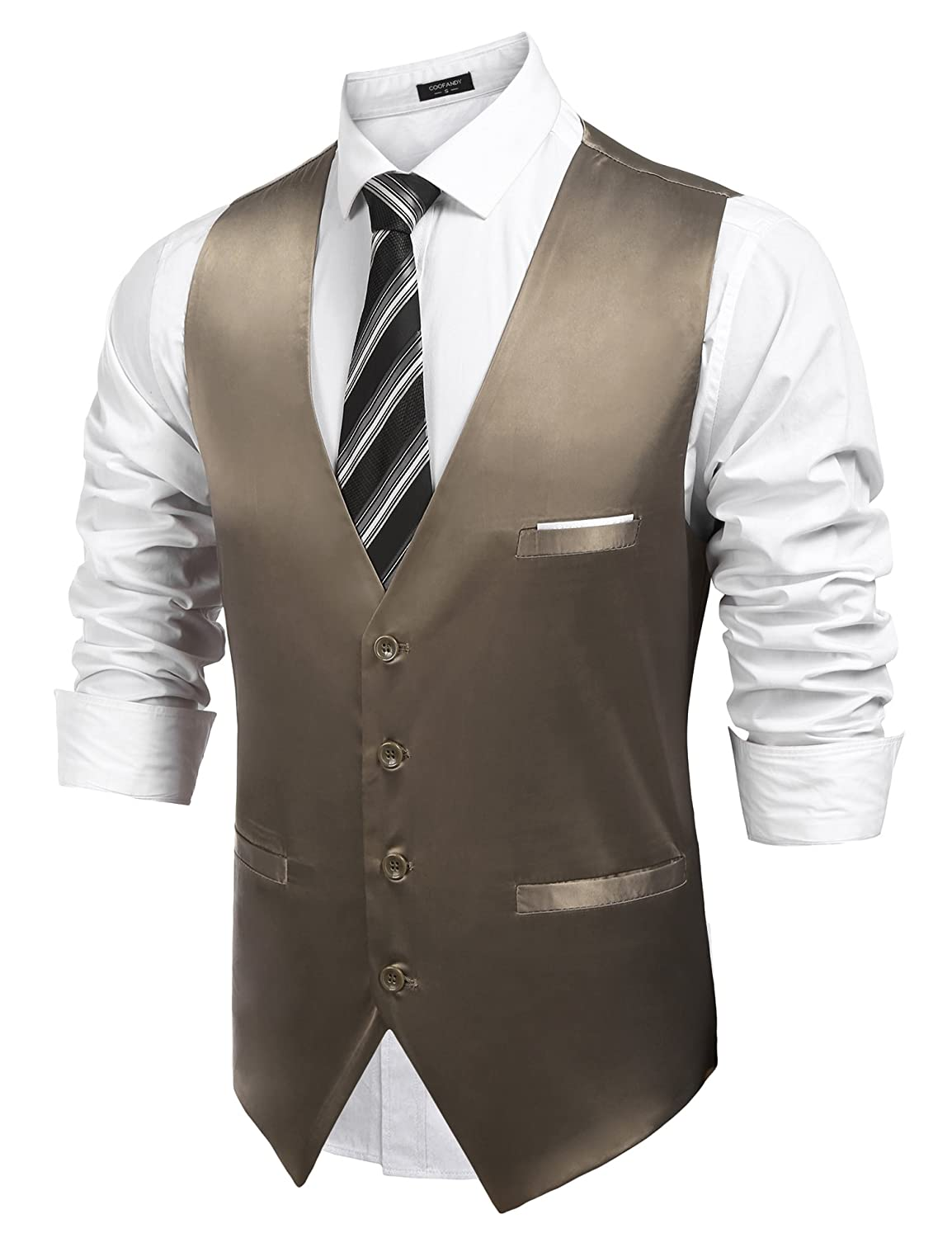 e93b03570ee COOFANDY Mens Dress Vest Formal Business Waistcoat One Button Slim Fit Suit  Vest