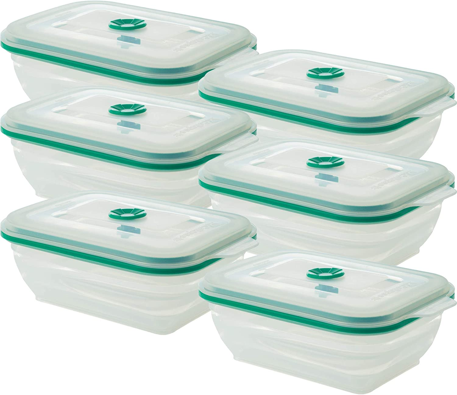 Collapse-it Silicone Food Storage Containers - BPA Free Airtight Silicone Lids, 6 Piece Set of 3-Cup Collapsible Lunch Box Containers - Oven, Microwave, Freezer Safe (Teal Rectangle) with Bonus eBook