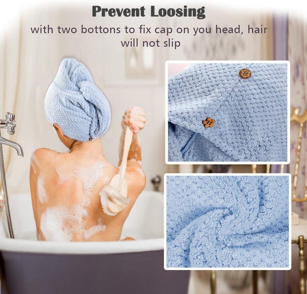 Cielo Blu Cappello per Capelli asciutti Salon Asciugamano asciuga Capelli in Microfibra con Bottoni Allacciati G-TASTE Asciugamano Turbante per Capelli