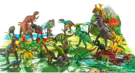 18 Toy Dinosaurs In Tub With Dinosaur Playmat Action Figures Animals & Dinosaurs