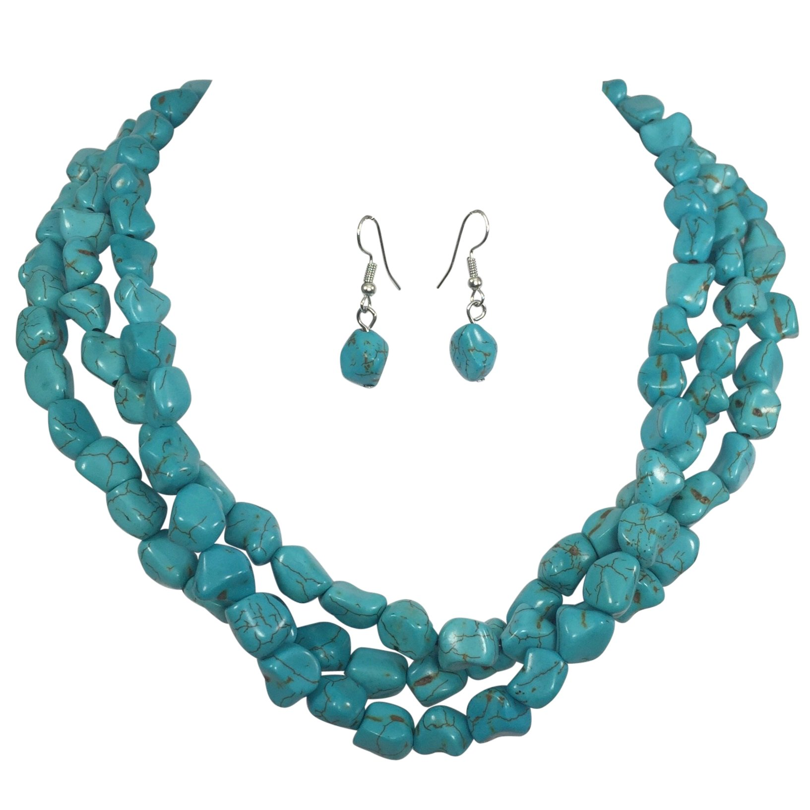 3 Row Imitation Turquoise Stone Beaded Layered Necklace And Earrings Set by Gypsy Jewels