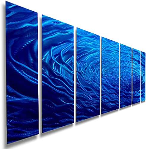 Extra Large Contemporary Blue Jewel Tone Metal Wall Art by Jon Allen- Abstract Home Accent, Over-Sized Home Decor, Modern Wall Sculpture – Cobalt Ripple XL