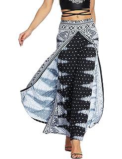 34153bf14449 AMOMA Women Wide Leg Side Split Trousers Summer Casual Elastic Wasit Loose  Pants Indie Folk Hippy