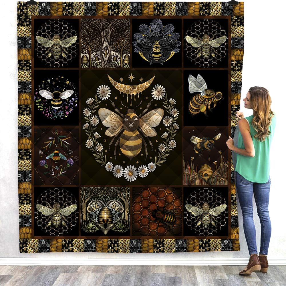 Quilt Bee Theme 3D Printed Quilting Quilt for Kids and Adults Bedding Throw Soft Warm Thin Blanket Quilt (Style1, 59''x 80'') by FeiGong