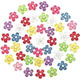 Dandan DIY 80pcs 10mm(0.4'') Mini Resin Flowers with Shiny Rhinestone Flatback Resin Buttons Resin Flatback Craft Flowers Pho