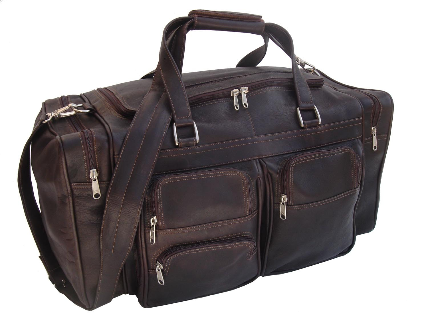 c9727517686 Amazon.com   Piel Leather 20In Duffel Bag with Pockets, Black, One Size    Travel Duffels
