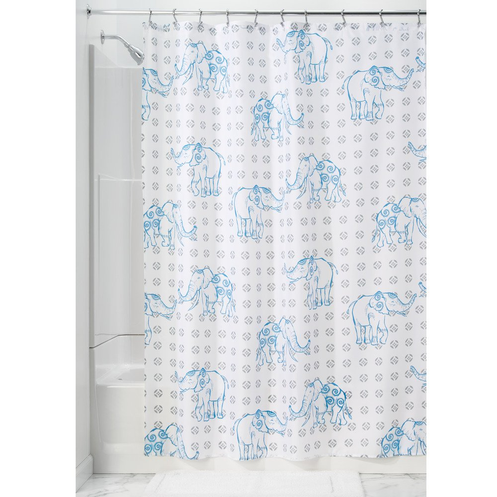 InterDesign Elephant Fabric Shower Curtain - 72 x 72; Gray/Blue 67120