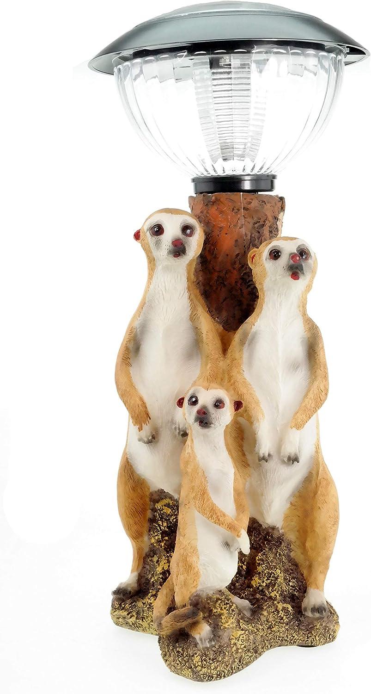 Erdmännchenfamilie mit Solar Laterne Erdmännchen Figur 35cm Erdmännchen Familie