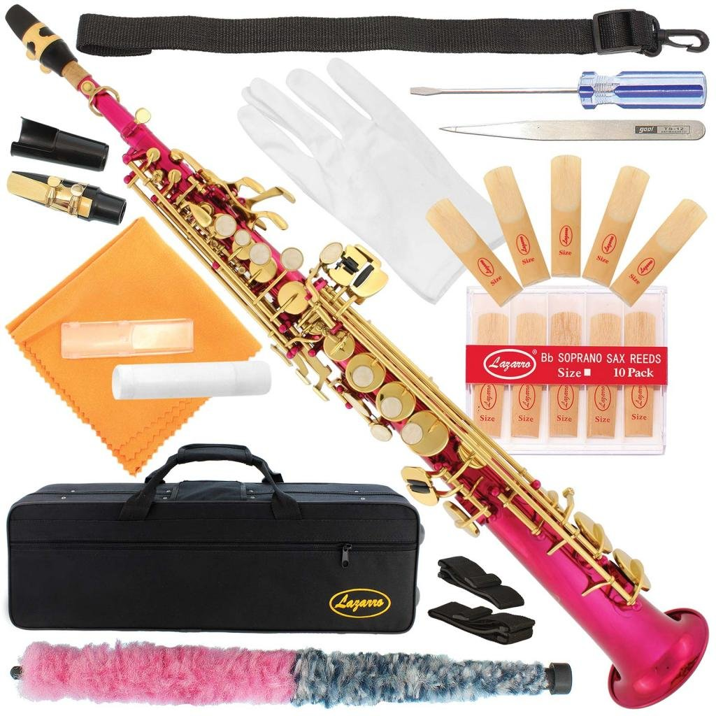 300-PK-PINK/GOLD Keys Bb STRAIGHT SOPRANO Saxophone Sax Lazarro+11 Reeds,Care Kit~22 COLORS~SILVER or GOLD KEYS~CHOOSE YOURS !