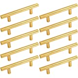 Gold Cabinets Handles and Drawer Pulls Brushed Brass T Bar Cabinets Pulls 10 Pack 3Inch (76mm) Hole Centers- Homdiy HD201PB Gold Cupboard Pulls Knobs