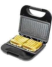 Sandwichera Revestimiento de piedra RockStone y superficie de triángulos. 750 W de potencia, pinza de cierre, hueco recogecables y base antideslizante. Sandwichera Rock´n Toast Fifty-Fifty de Cecotec