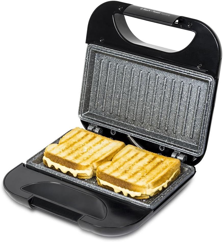 Cecotec Sandwichera Rock'nToast Square. Revestimiento Antiadherente RockStone, Capacidad para 2 Sandwiches