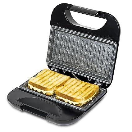 Cecotec Sandwichera RocknToast Square. Revestimiento Antiadherente RockStone, Capacidad para 2 Sandwiches, Superficie Grill, Asa Tacto Frío, ...