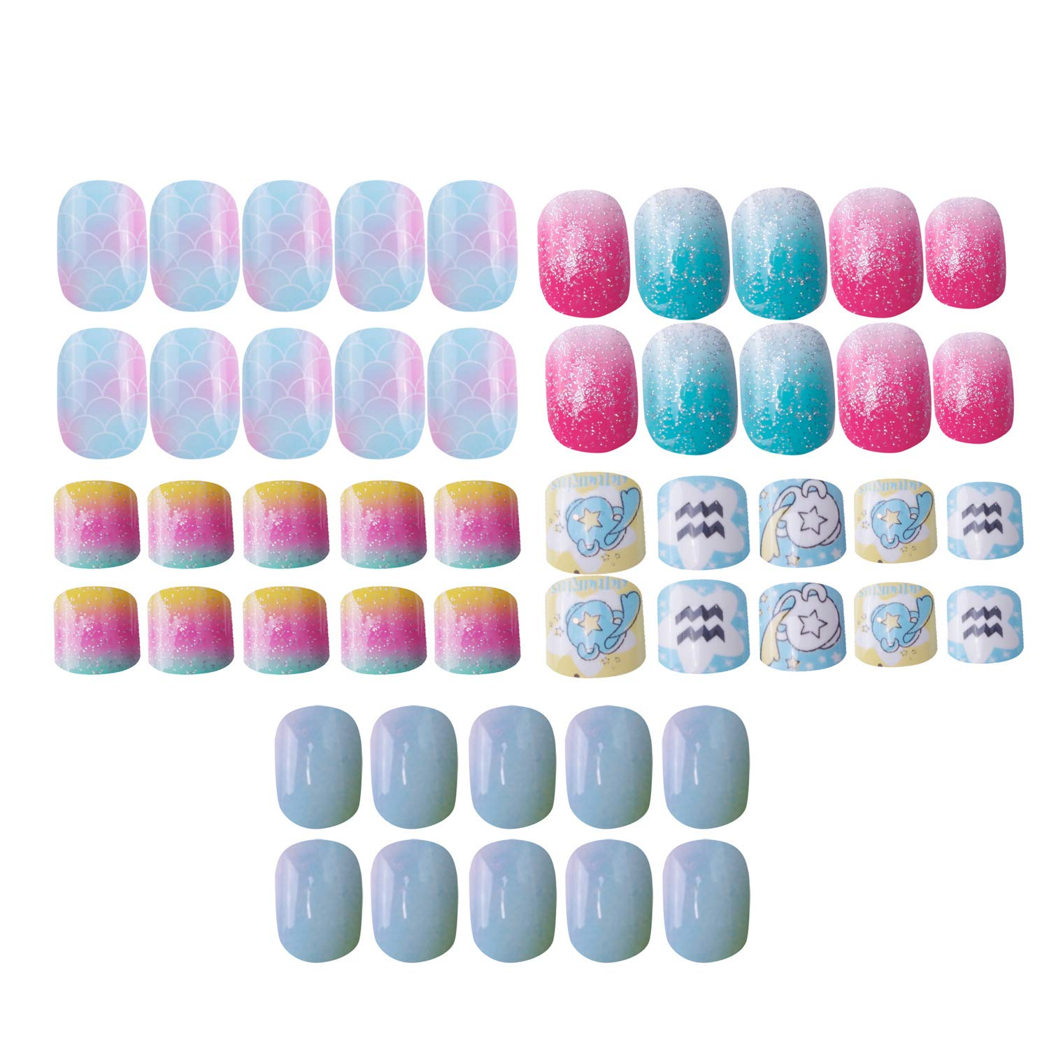 Laza 120pcs Children Nails Press On Pre-glue Full Cover Glitter Gradient Color Rainbow Sparkling Scale Wave AquariusShort False Nail Kits for Kids Teenager Girls - Little Mermaid by Laza