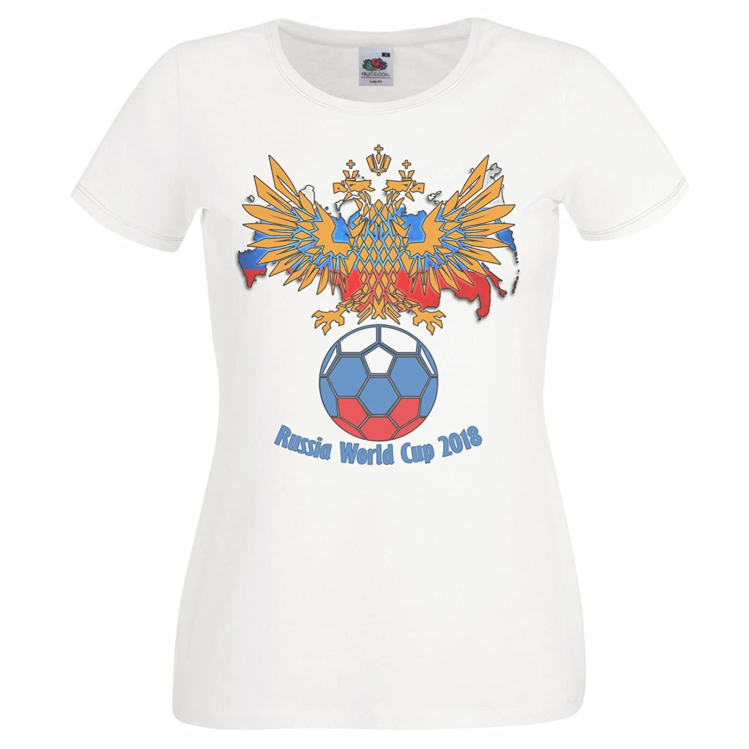 Ladies White Russia World Cup Crest T-Shirt Football Supporters Russian Top