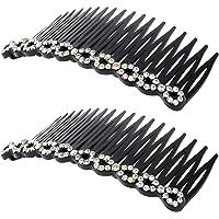 uxcell Women Plastic Rhinestone DIY Hair Style Comb Clip Slide Hairclip 2pcs Silver Tone