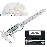 Neoteck 6 inch/150mm Digital Caliper + Feeler Gauge Set, Stainless Steel Electronic Vernier Caliper Fractions/ Inch/ Metric Conversion