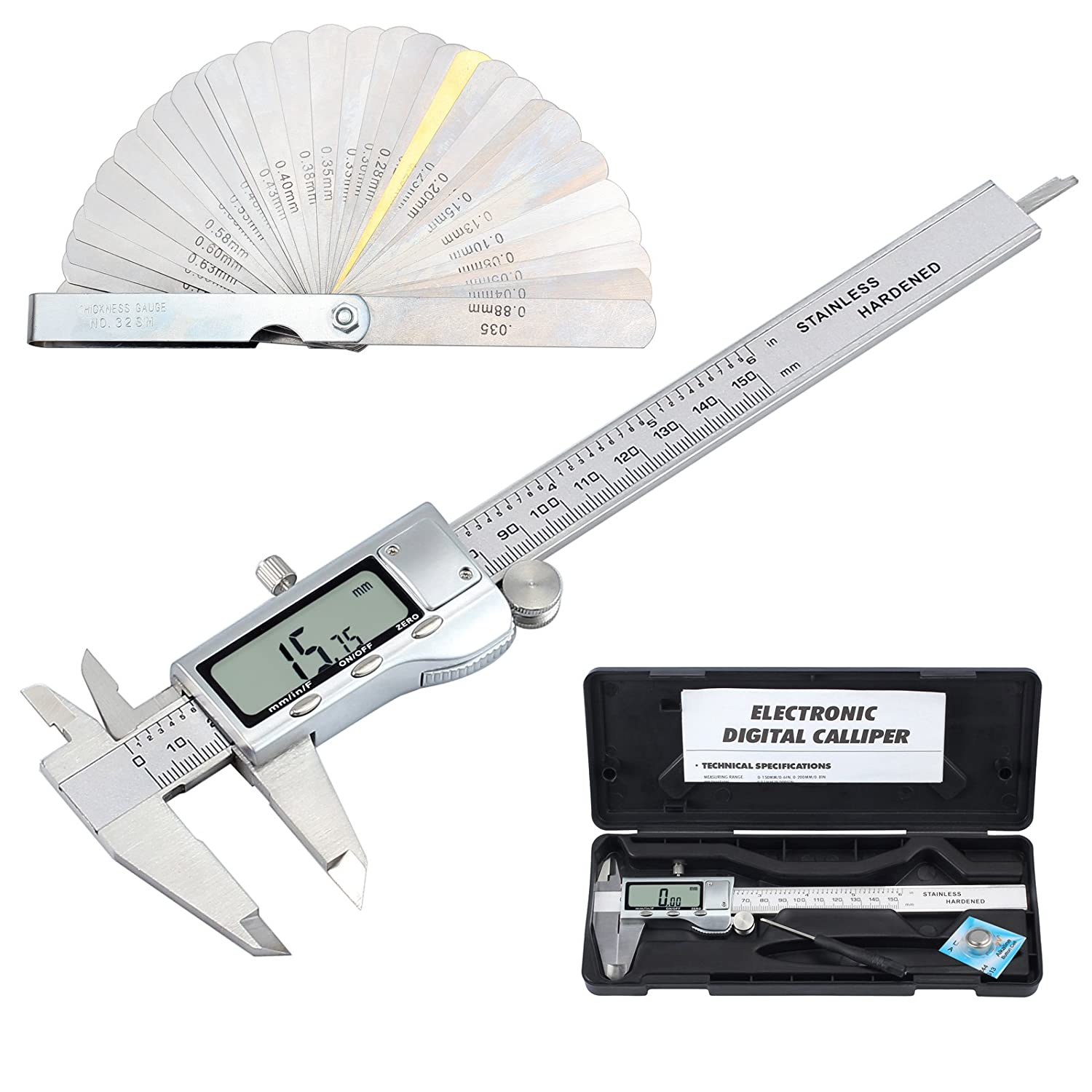 Electronic Thickness Gauge Stainless Metal Digital Vernier Caliper 150mm