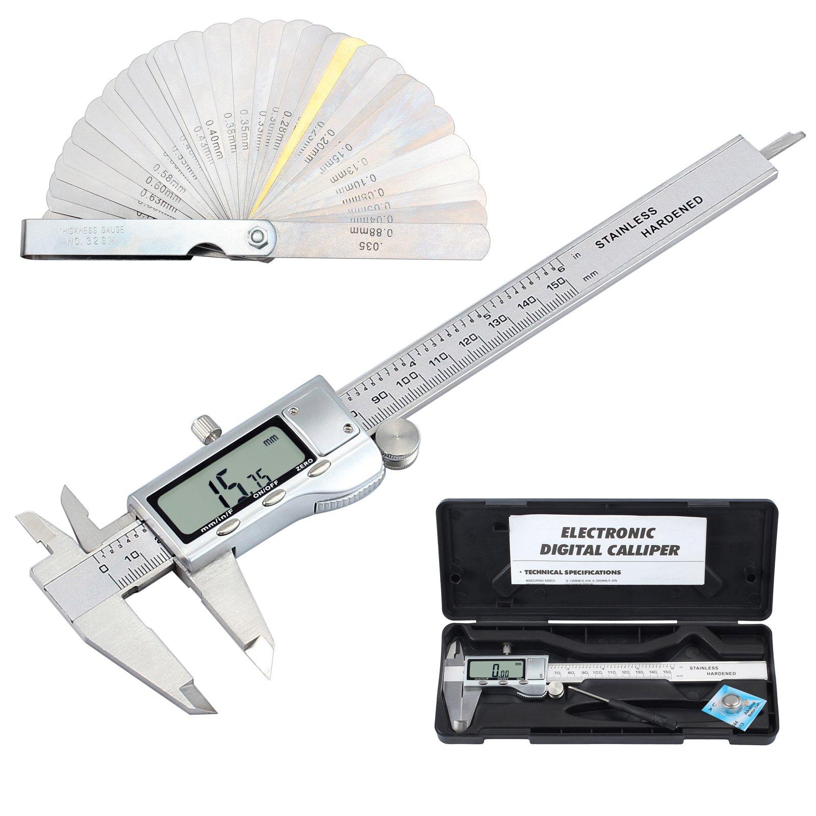 Digital Vernier Caliper + Feeler Gauge Neoteck 150mm/6Inch Stainless Steel Electronic Caliper Fractions/Inch/Metric Conversion Measuring Tool for Length Width Depth Inner Diameter Outer Diameter