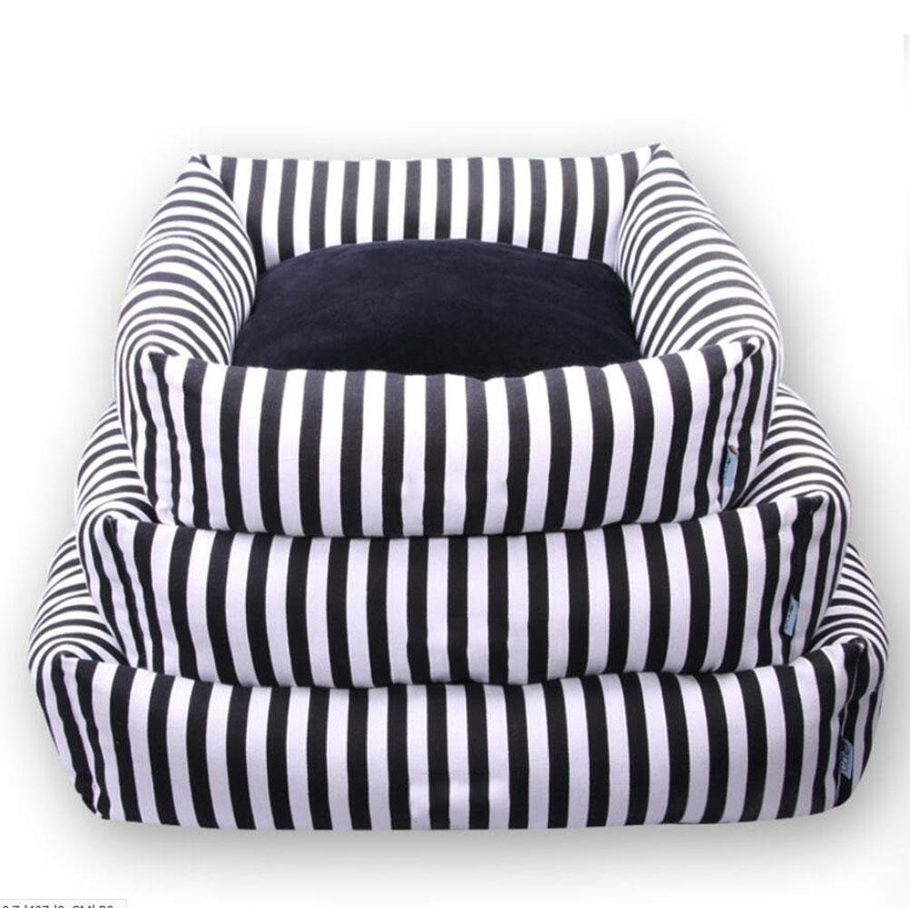 Amazon.com: WWQY Bite-Resistant Pet Bed Black & White Canvas Stripe Square Kennel with Removable Cushion Sofa: Health & Personal Care