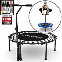 Kinetic Sports Fitness Trampolin Indoor Ø 110 cm, RUND, höhenverstellbarer Haltegriff, Gummiseilfederung, Randabdeckung BLAU , belastbar bis 120 kg