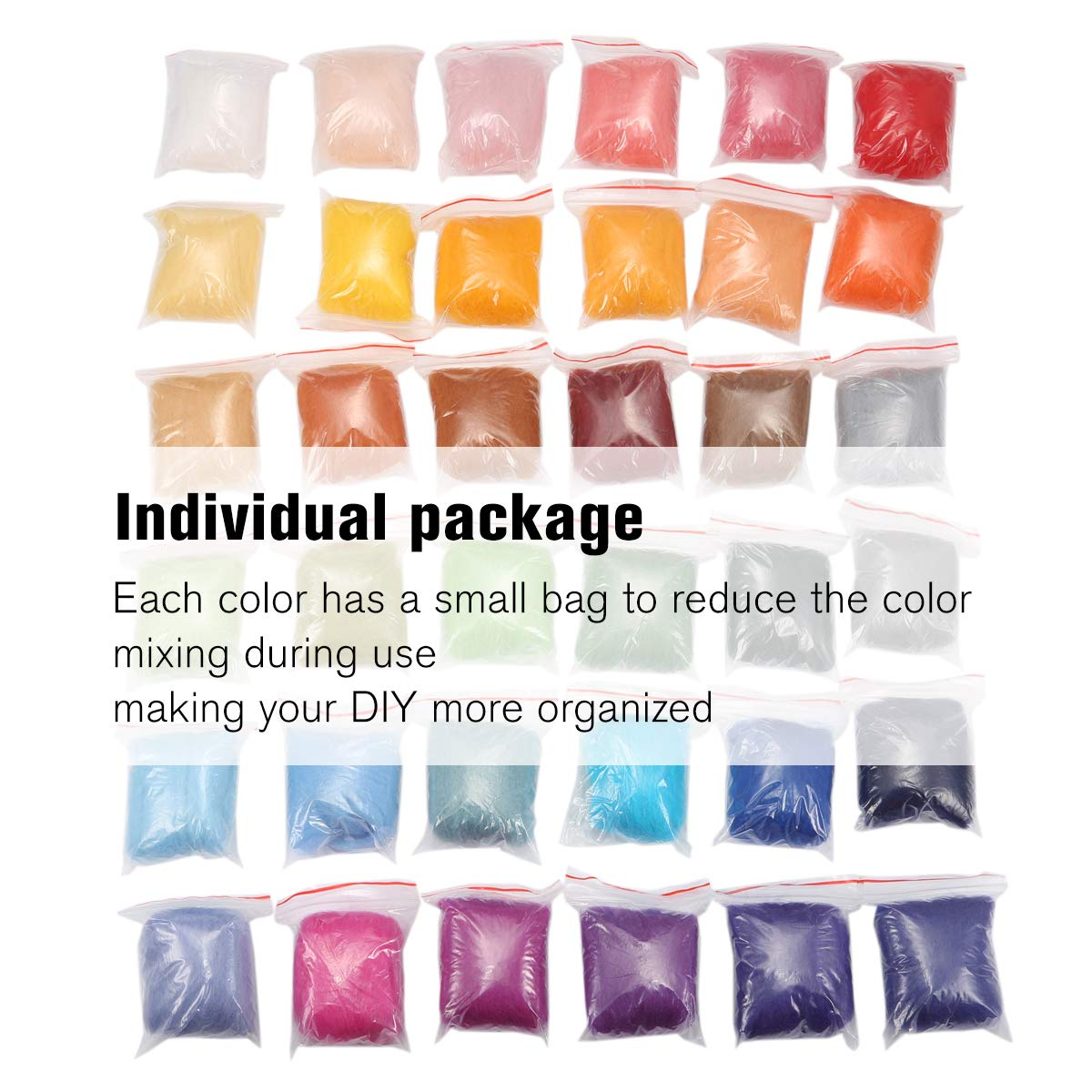 Jeteven 50 Colors Merino Wool Fibre Roving Spinning Sewing Trimming For Needle Felting DIY Craft (5g per color)