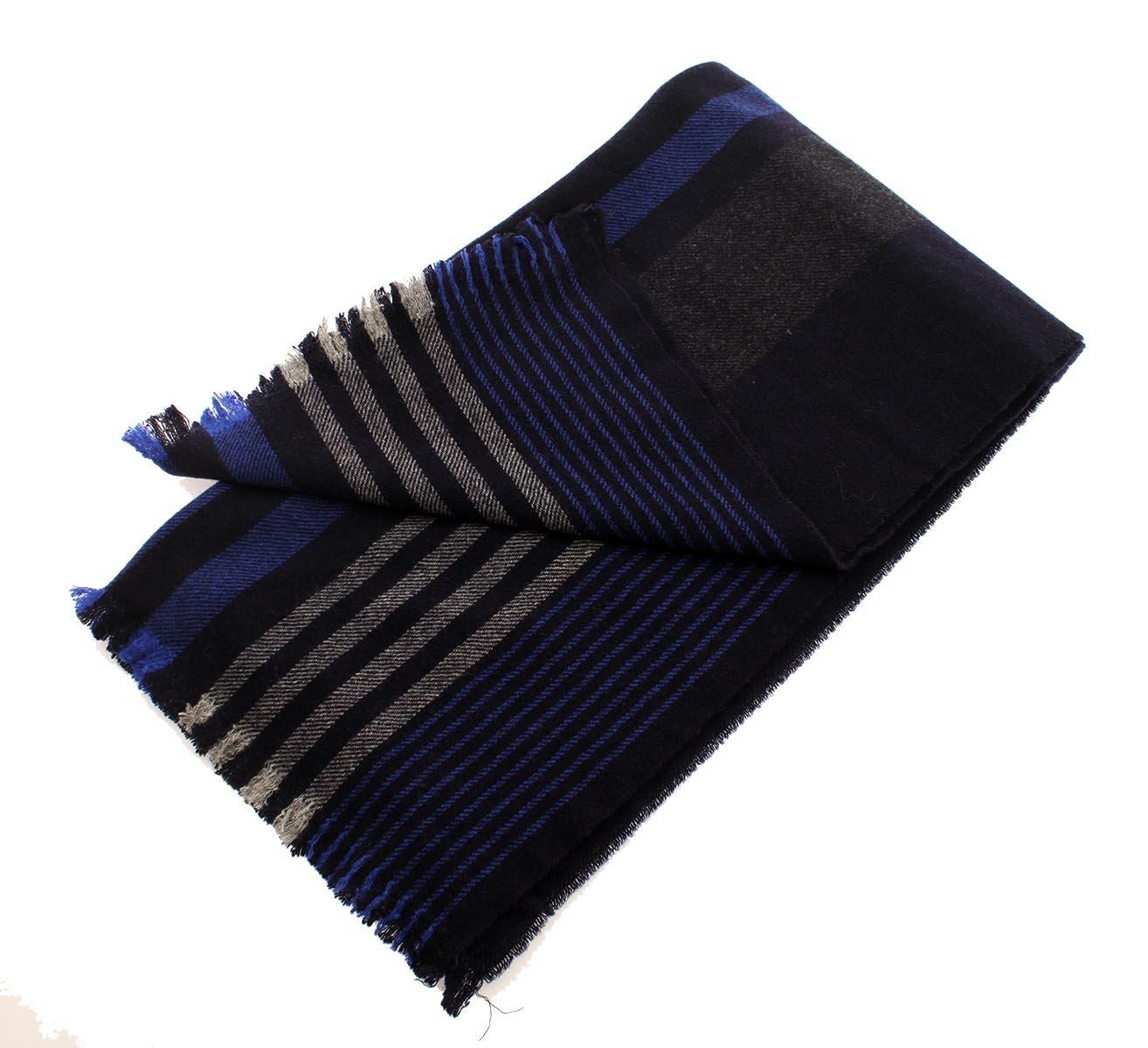 COACH Wool Variegated Vertical Stripe Scarf in Navy Multi