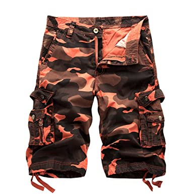 NiuZi Mens Summer Camo Cargo Shorts Loose Fit Multi Pockets Cotton Big and  Tall Cargo Camouflage a566b49985f