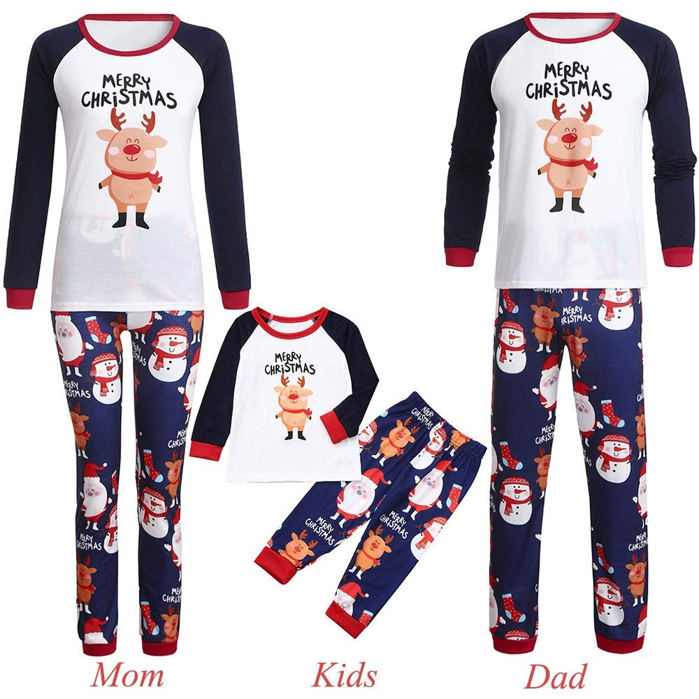 814be74e41 Amazon.com  GzxtLTX Family Christmas Matching Pajama Set Mommy Daddy and Me  Cartoon Reindeer Letter Printed Merry Claus Sleepwear  Clothing