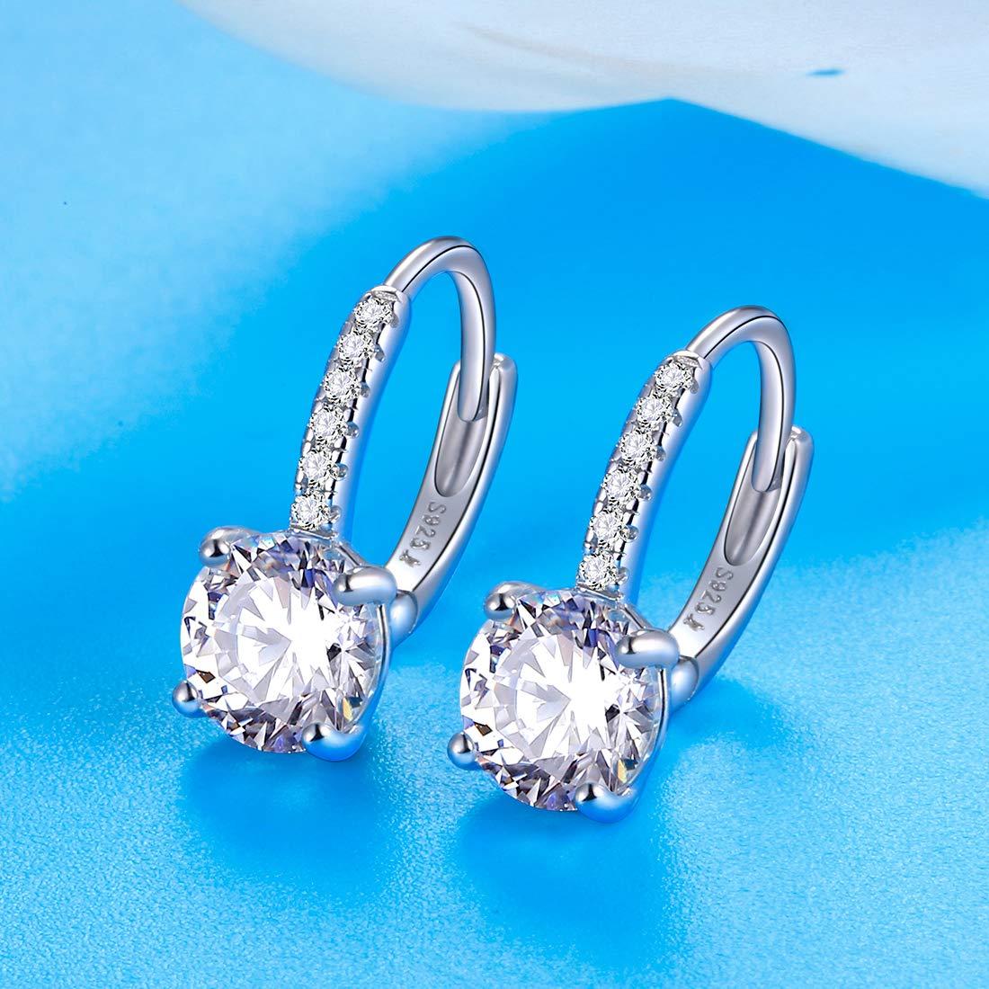 Pegaffi Round Cubic Zirconia Drop Dangle Earrings for Women Jewelry