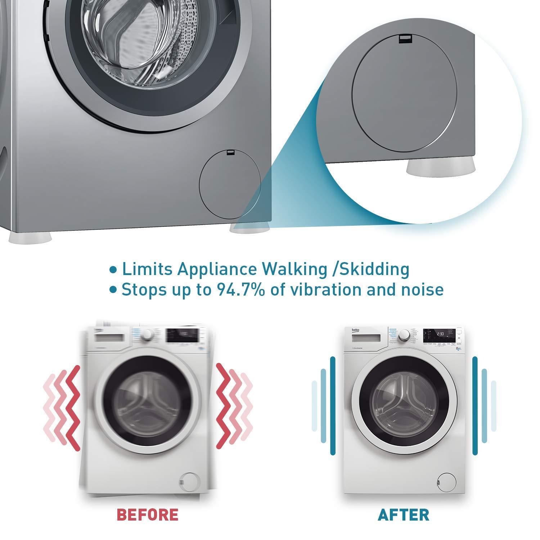 blanc, paquet de 4, antid/érapant, 2.56 * 1.77 * 0.78 UNEEDE Tapis Anti-Vibration pour Machine /à laver et s/èche-linge, pour tous les mod/èles de machine /à laver